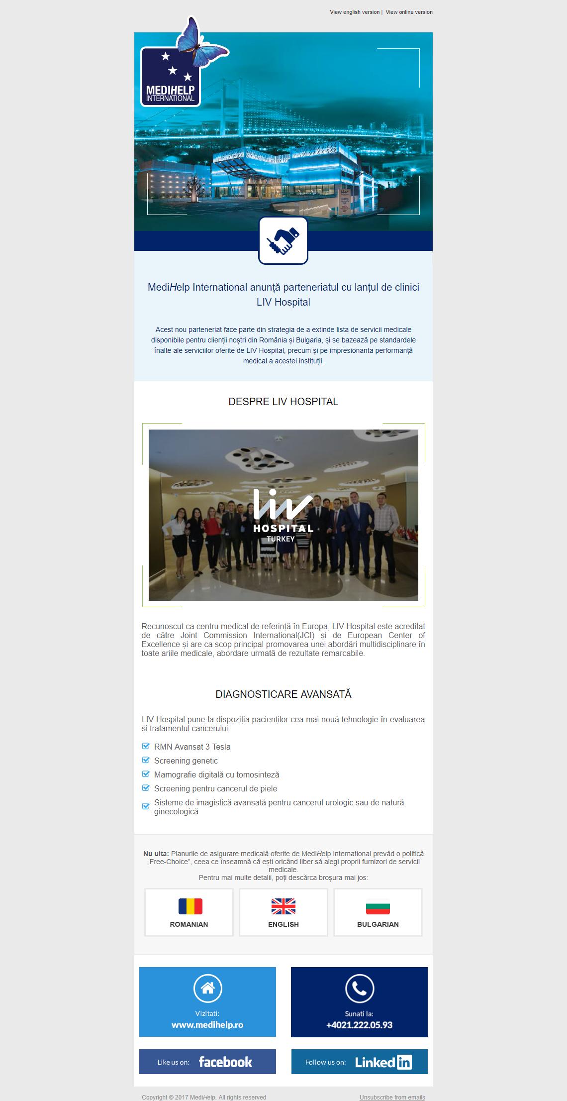 MediHelp International anunță parteneriatul cu lanțul de clinici LIV Hospital